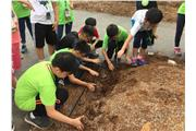 Students were participating in farming activities.