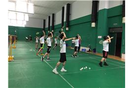 Students were attending a badminton training session in Shanghai University of Sport.