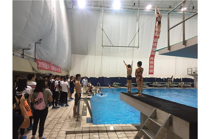 Students were visiting Shanghai Swimming Center.
