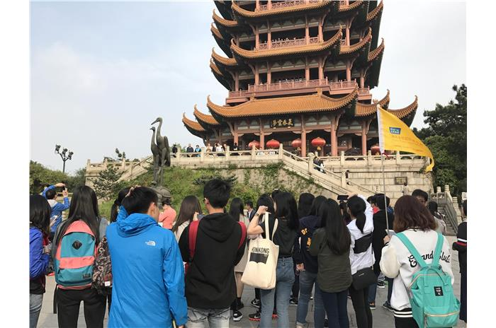 Students were visiting Yellow Crane Tower in Wuhan.