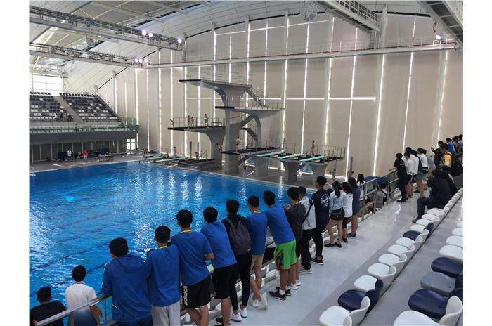 Students were visiting Shanghai Oriental Sports Center.